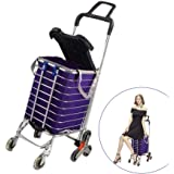 Folding Shopping Cart Portable Grocery Utility Lightweight Stair Climbing Cart with Rolling Swivel Wheels and Removable Waterproof Canvas Removable Bag (with Cover)