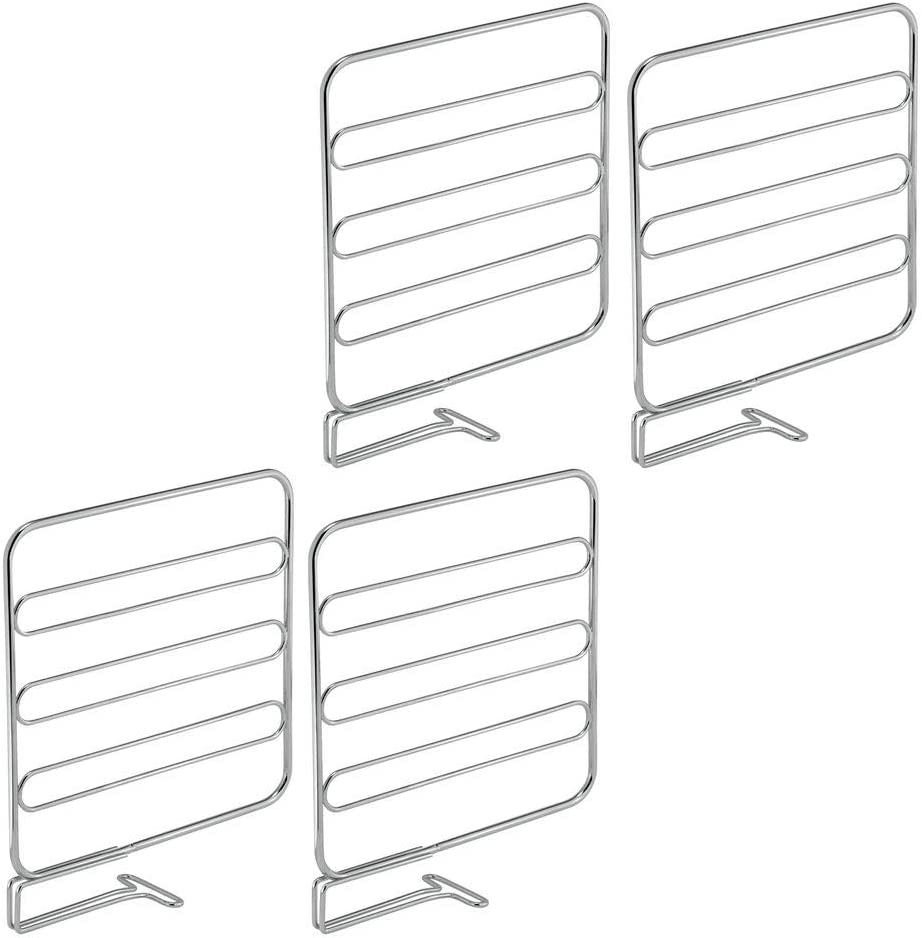 mDesign Versatile Metal Wire Closet Shelf Divider and Separator for Storage and Organization in Bedroom, Bathroom, Kitchen and Office Shelves - Easy Install - 4 Pack - Chrome