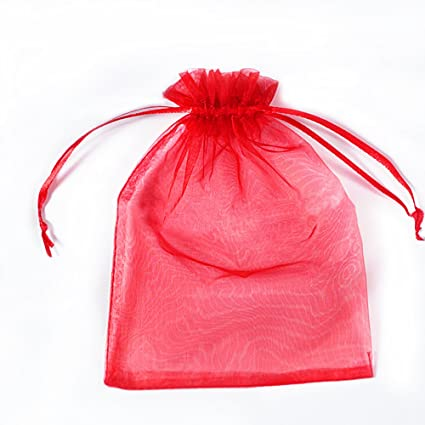 12eaea5095c4 BZCTAH 100 Pcs 9 x 12cm Drawstring Organza Gift Bags Candy Pouch, Wedding  Party Christmas Favor Bags Jewelry Pouches Wrap,Red
