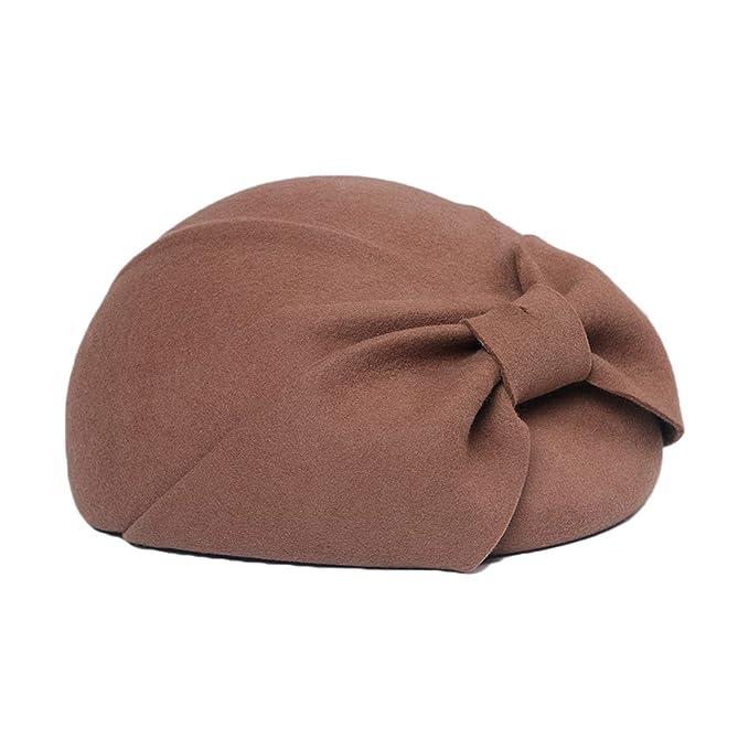 a3c8bef66ac65 100% Wool Fedora Bow Felt Hat Autumn Winter Elegant Hats Lady ...