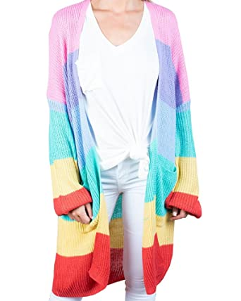 14f7c75a5 Shele Womens Cardigan Sweaters Oversized Rainbow Open Front Striped Knit  Tops Pockets