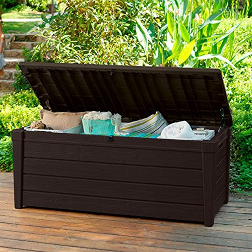Pool Deck Storage Box and Bench is 2 in 1 Multifunctional Patio Seat Resin UV Protected 120-Gallon Pool and Yard Container for Cushions Table Covers Candles Beach Toys (Cushion Container Patio Storage)