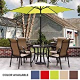 9 Ft Patio Umbrella, Outdoor Market Umbrella with Push Button Tilt and Crank, 6 Ribs, Lime Green For Sale