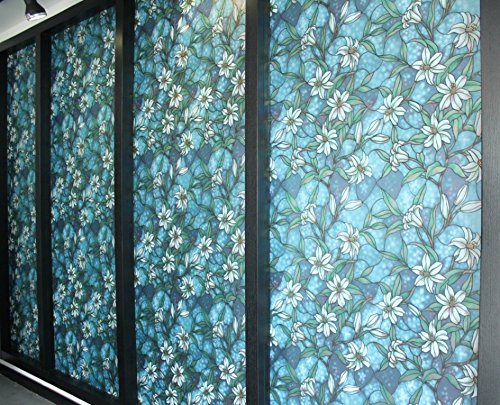 17.7-Inch by 78.7-Inch/45cm×200cm Static Cling Glass Film with Blue Lily Flower (Green Lilies Stained Glass)