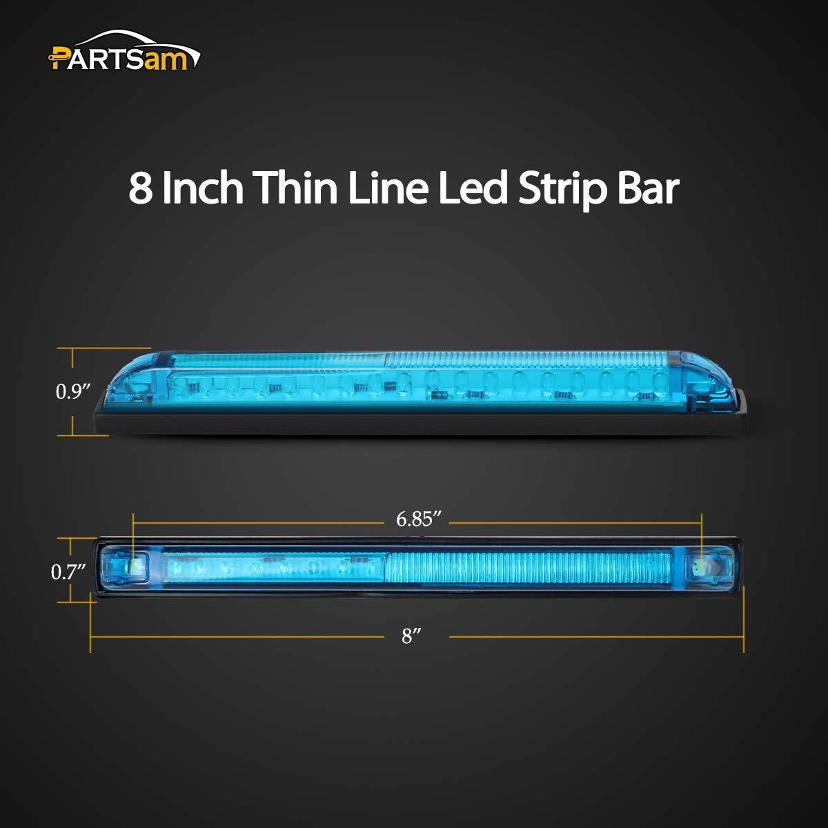 Slim Line RV Boat Marine Led Utility Lights Surface Mount Partsam 2pcs Blue 8 Inch Blue Led Strip Bar 18LED 8 Utility Strip Light Bar Auto Marker Light 12V Low Current Draw