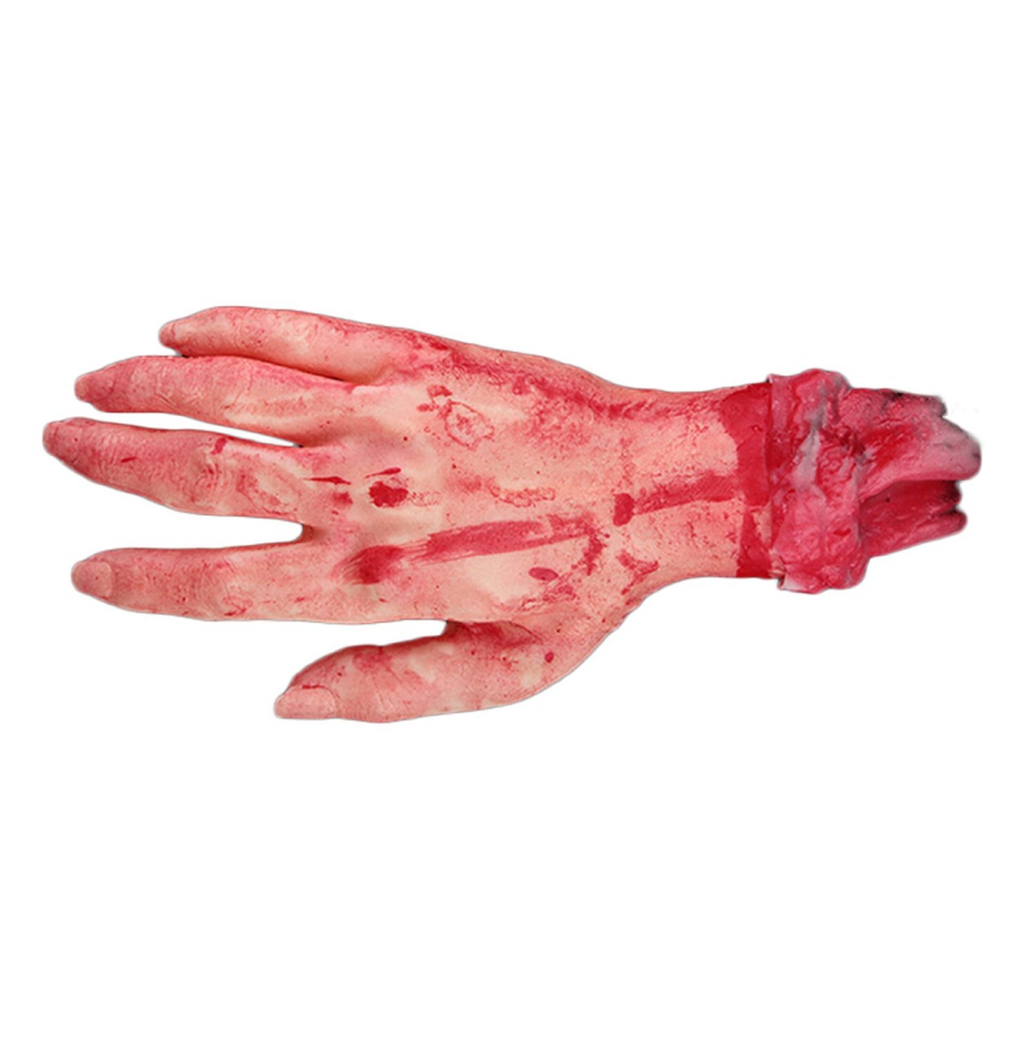 Realistic Latex Gory Human Arm Hand Life Size Scary Bloody Blood Body Parts for Halloween Party Indoor Outdoor Prop and Cosplay Decor