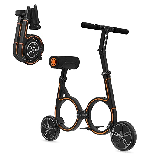 smacircle E-Bike, Folding Electric Bicycle with Lightweight Carbon Fiber Frame, 36V Lithium-ion Battery, 12 Mile Range, USB Charger, App Control, Ideal for Urban Riding and Commuting (Orange)