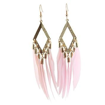 Women Girls Feather Long Tassel Earrings Exaggerated Earrings Wedding  Travel Nightclub Bar Earrings Dress Match Earrings
