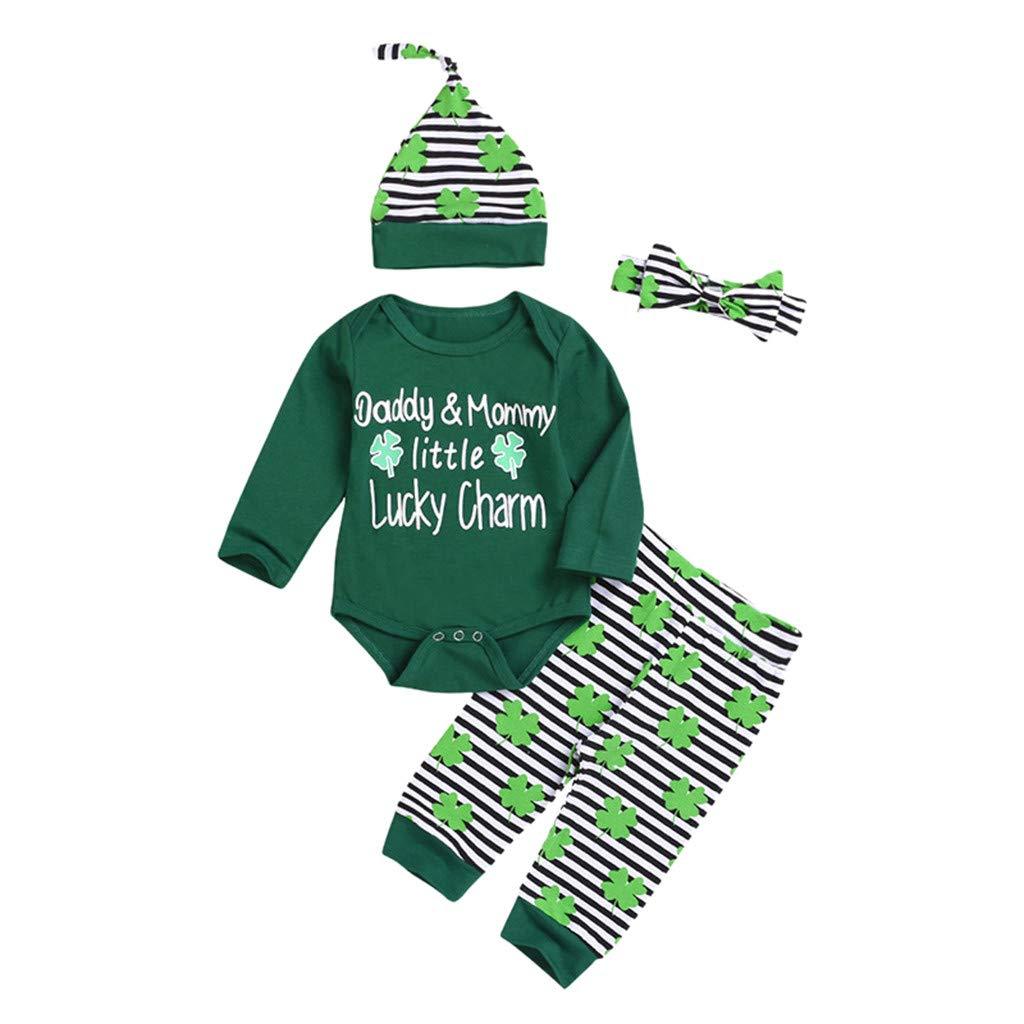 St Patricks Day Newborn Baby Boy Girl Printed Romper Pants Hat Headband 4pcs Green Outfits Set