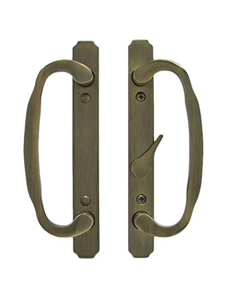 Solid Brass Sliding Glass Door Handle Set and Mortise Lock, Antique ...