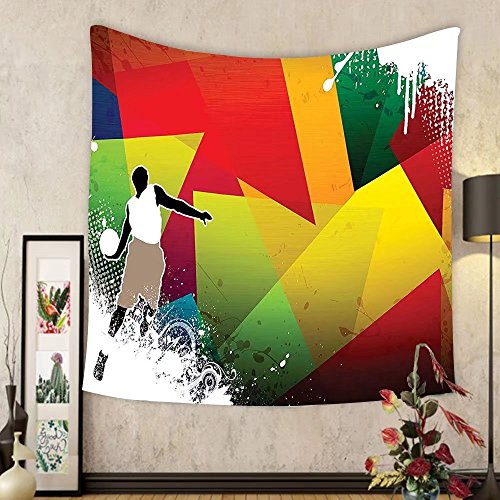 Gzhihine Custom tapestry Sports Decor Tapestry Colored Splashes All over the Soccer Balls Score World Cup Championship Athletic Artful Print Bedroom Living Room Dorm Decor 60 x 80 Multi by Gzhihine