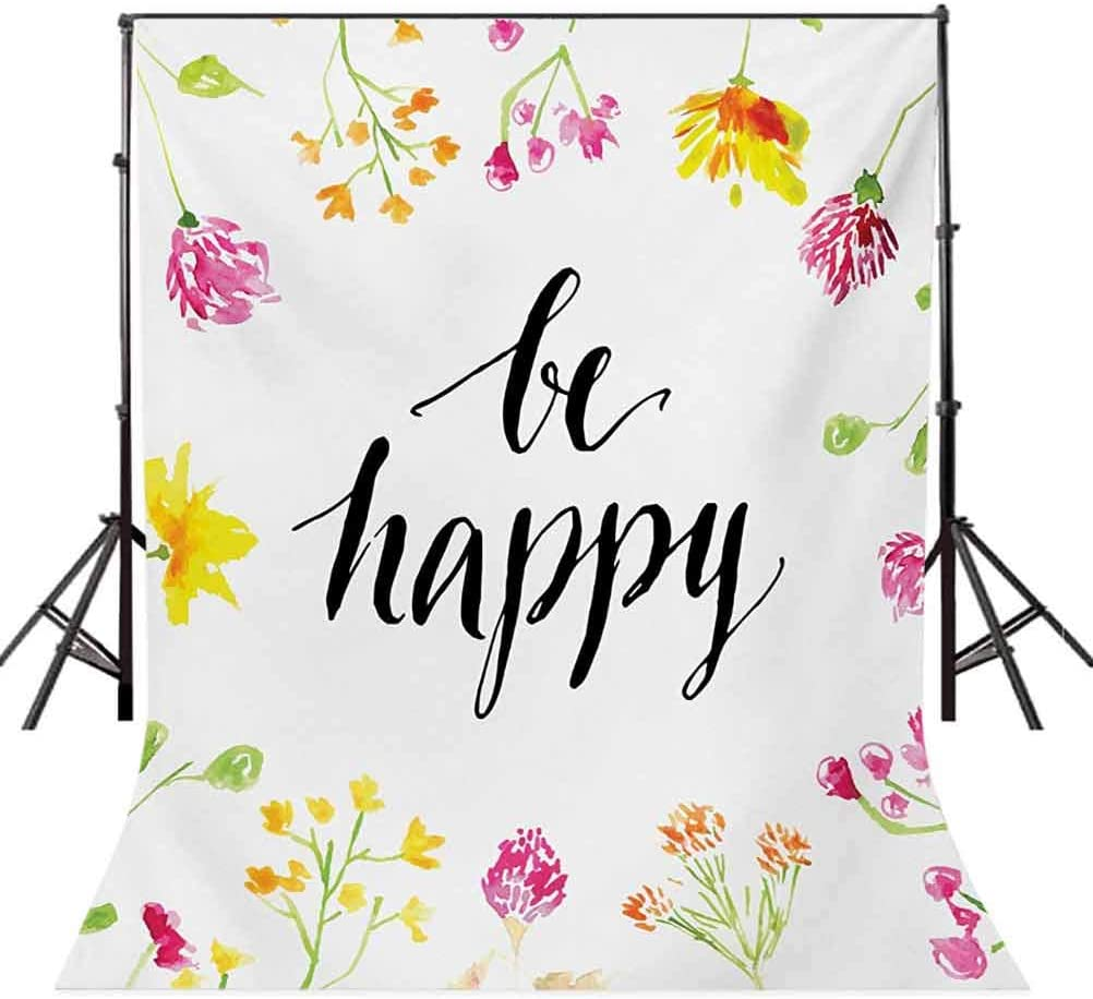 Positive Vibes Spring Revival Floral Be Happy Phrase Framed by Colorful Wild Flowers Background for Kid Baby Artistic Portrait Photo Shoot Studio Props Video Drape 10x12 FT Photography Backdrop