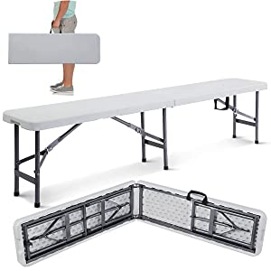 Giantex 6' Portable Plastic In/outdoor Picnic Party Camping Dining Folding Bench