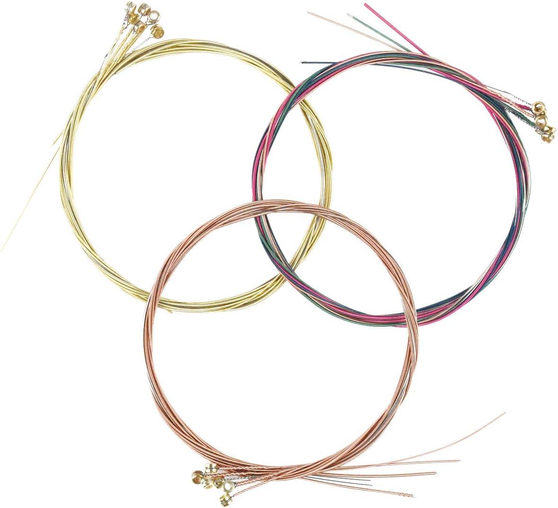 3 Juegos de Cuerdas de Guitarra Acústica Reemplazo de Cuerda para Guitarras Acústicas,Cuerda de Acero Acústica (Latón,Cobre,Multicolor)