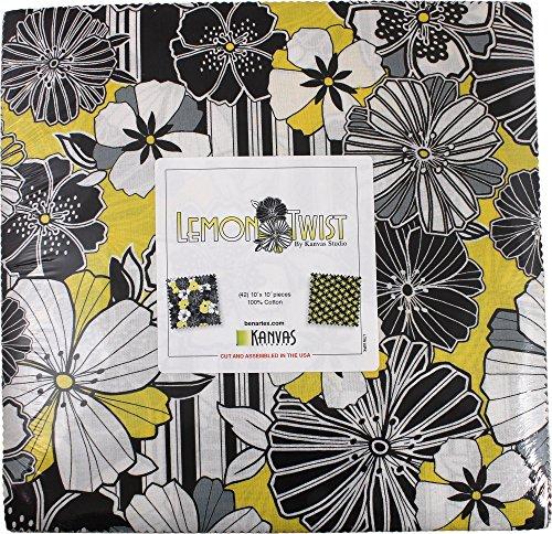Kanvas Studio Lemon Twist 10X10 Pack 42 10-inch Squares Layer Cake Benartex, Assorted