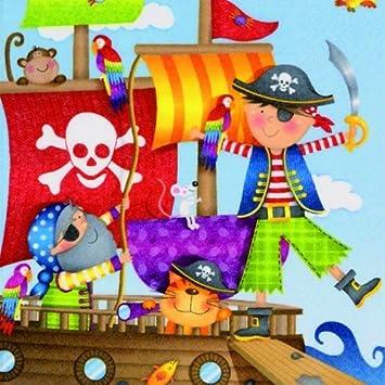 20 Servilletas Barco Pirata/Piratas/Niños/Cumpleaños 33 x 33 ...