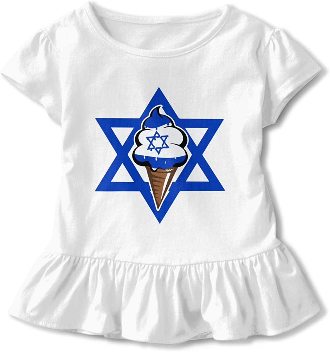 Israeli Flag Funny Ice Cream Little Girls Short Sleeve Peplum Top