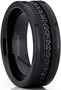Metal Masters Co. Tungsten Carbide Black Wedding Band Eternity Ring, Cubic Zirconia Inlay Comfort Fit