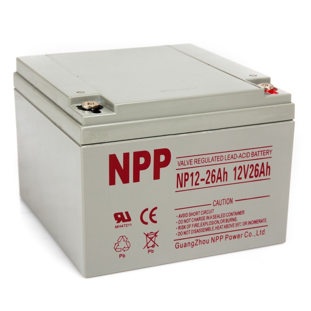 NPP NP12-26Ah Rechargeable AGM Lead Acid 12V 26Ah Battery With Button Style Terminals