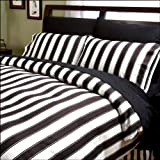 Sin in Linen Black and White Stripe Comforter, Full/Queen