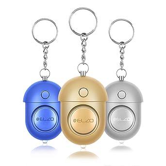 ELZO Alarma Personal, 3 Piezas 140DB Alarma Seguridad Autodefensa con Función de Iluminación para Seguimiento/Pánico/Seguridad/Ataque/Protección