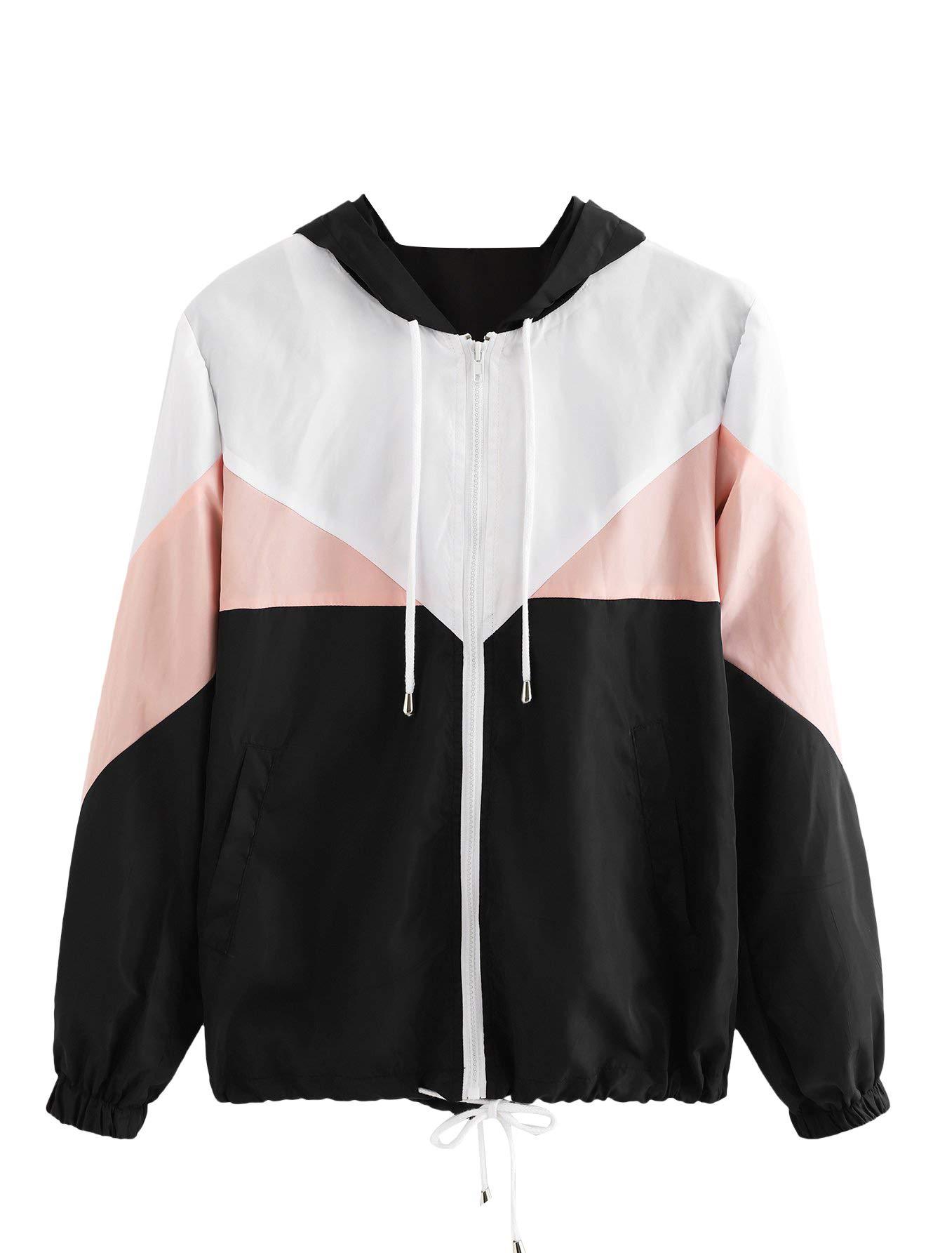 Milumia Women's Color Block Drawstring Hooded Zip Up Sports Jacket Windproof Windbreaker X-Large Multicolor