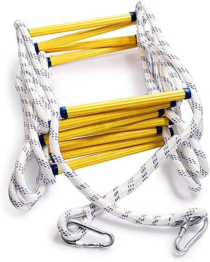SHDT Fuego De Emergencia Escalera De Cuerda (3 Y 4 De Historia) con Ganchos, Fácil De Usar Y Almacenar, Compacto, Reutilizable Escape De Fuego Escalera De Cuerda,5M: Amazon.es: Hogar