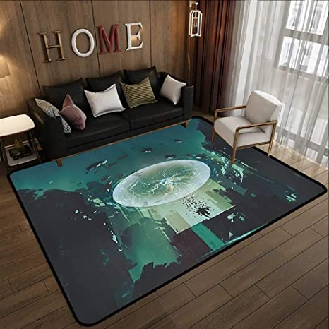 Abstract Design Area Rug Fantasy Art House Decor Lightning Ball And Human Building Dark Feeling Featured Comics Art Teal Black 47 X 59 Cute Design Anti Slip Floor Mat Amazon Ca Home Kitchen