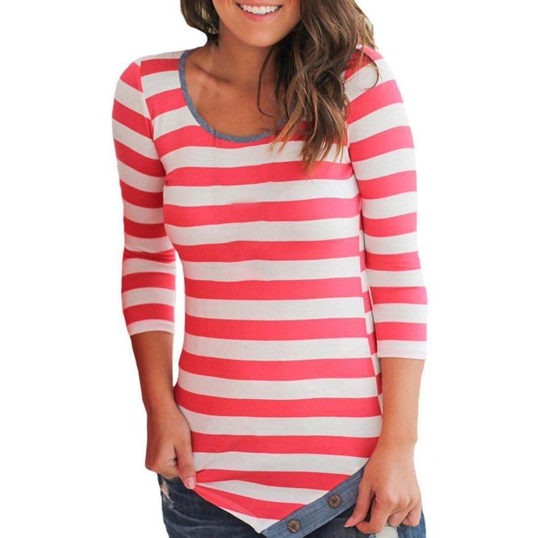 Women Stripe Blouse,Ankola 2018 New Women O-Neck Blouse Long Sleeve Botton Asymmetrical Hem Tunic Top T Shirt Blouse (XL, Red)