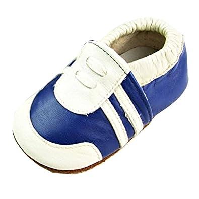 ca5ae86fea170 JT-Amigo Chaussons Bébé en Cuir Doux - Bleu et Blanc - 0 a 6 Mois   Amazon.fr  Chaussures et Sacs