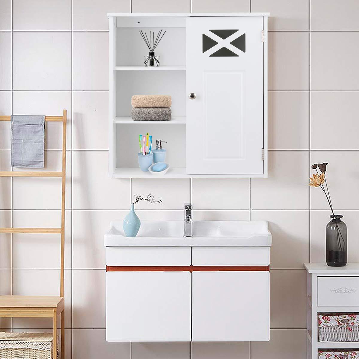 61 x 48 x 17,5 cm Bianco COSTWAY Armadietto da Parete Mobiletto da Bagno a Muro
