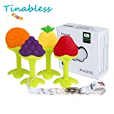 Baby Teething Toys - Tinabless Teething Keys Set Soft Silicone BPA-Free Baby Fruit Teethers Toys with Pacifier Clip/Holder for Infant and Toddler (4 pack)
