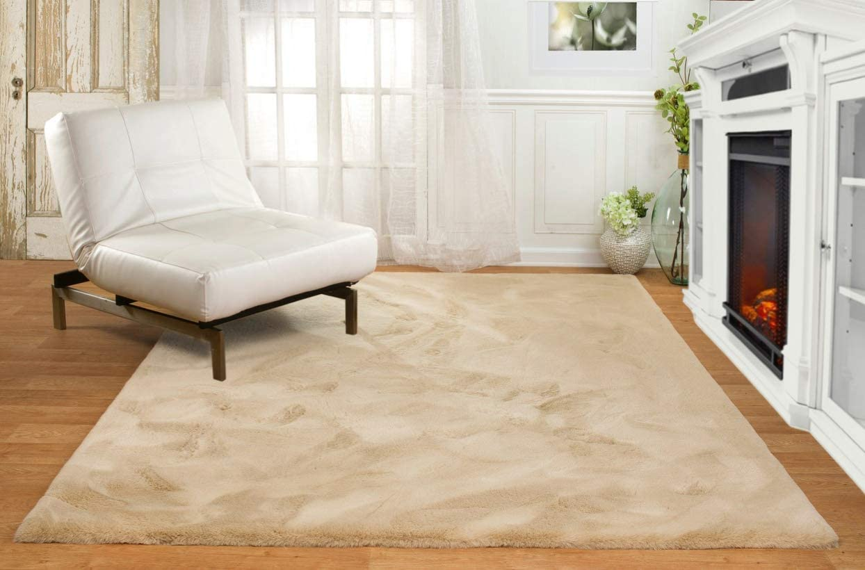 Machine Washable Ultra Soft Faux Fur Area Rugs Camel Faux Rabbit Shag Rug for Bedroom, Dining Room, Living Room More, 6ft x 8ft 2in