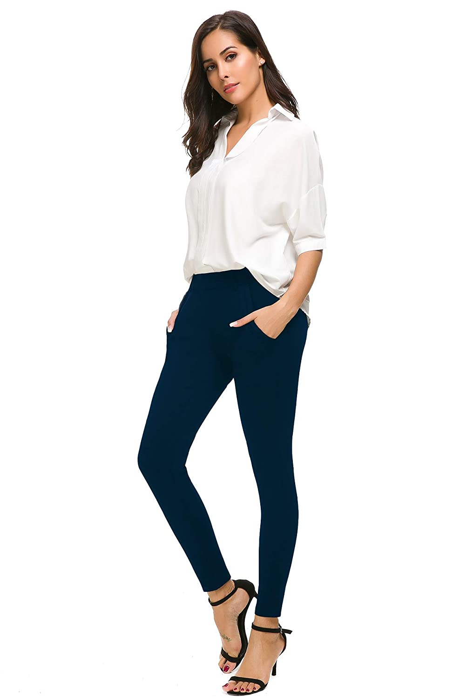 2d6add18358cff Bamans Womens Yoga Dress Pants Tummy Control Pull On 4 Way Stretch Skinny  Slim Leggings Christmas gift