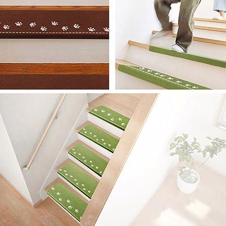 Felpudo antideslizante para escaleras, con patrón de huella de escalera visual de emisión de luz y antideslizante, duradero, para exteriores Tamaño libre marrón: Amazon.es: Hogar