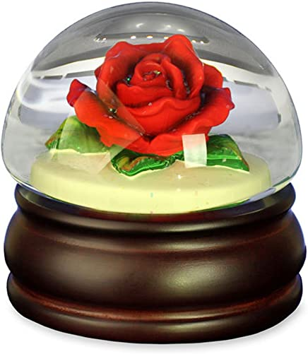 The San Francisco Music Box Company Red Rose Mushroom Water Globe