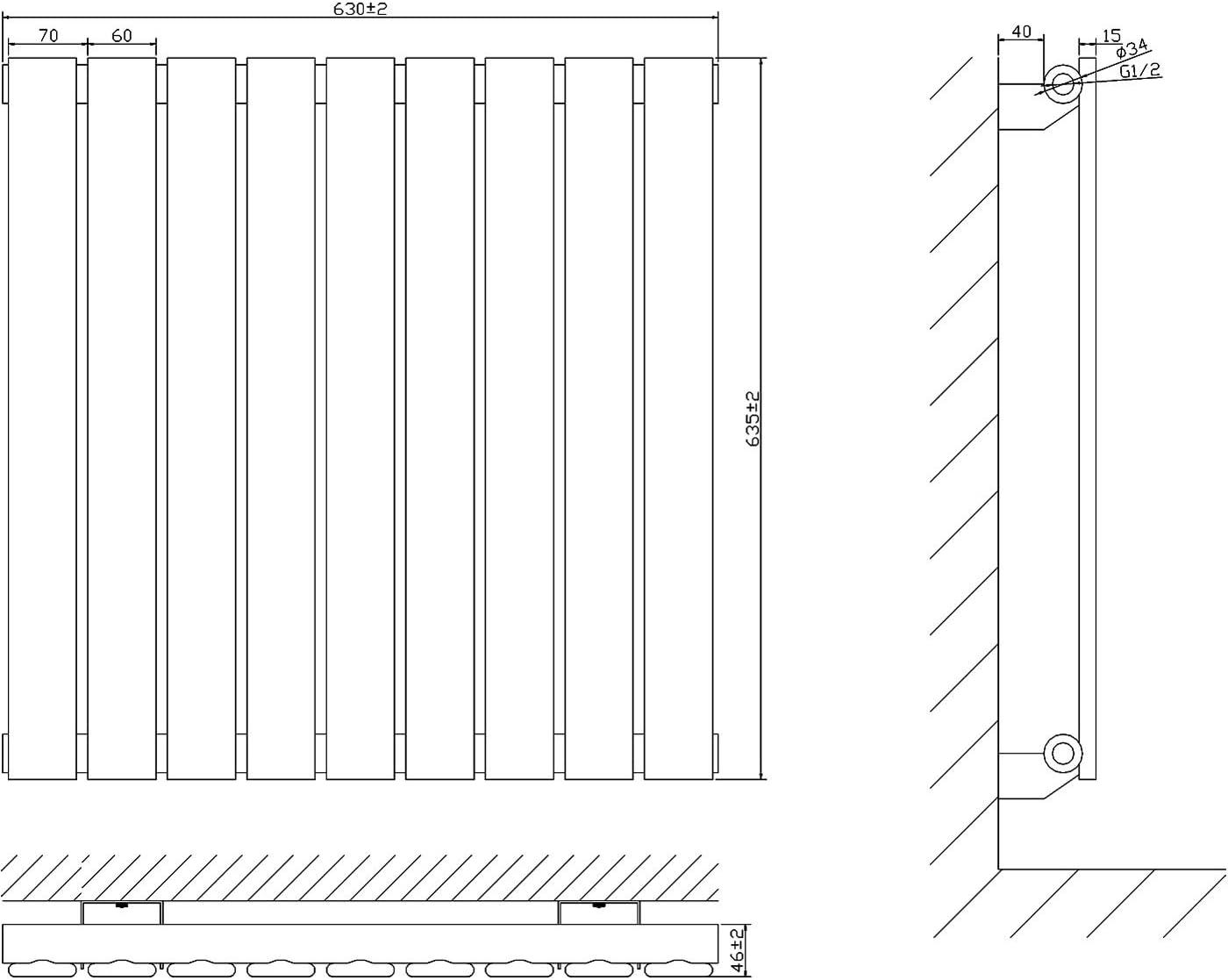 Hudson Reed Delta Radiateur Design Horizontal Simple Rang Acier Blanc 63,5 x 63 x 4,6cm 563 Watts