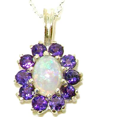 Luxury Ladies Solid 925 Sterling Silver Ornate 9x7mm Vibrant Natural Amethyst Pendant Necklace zXC2khA
