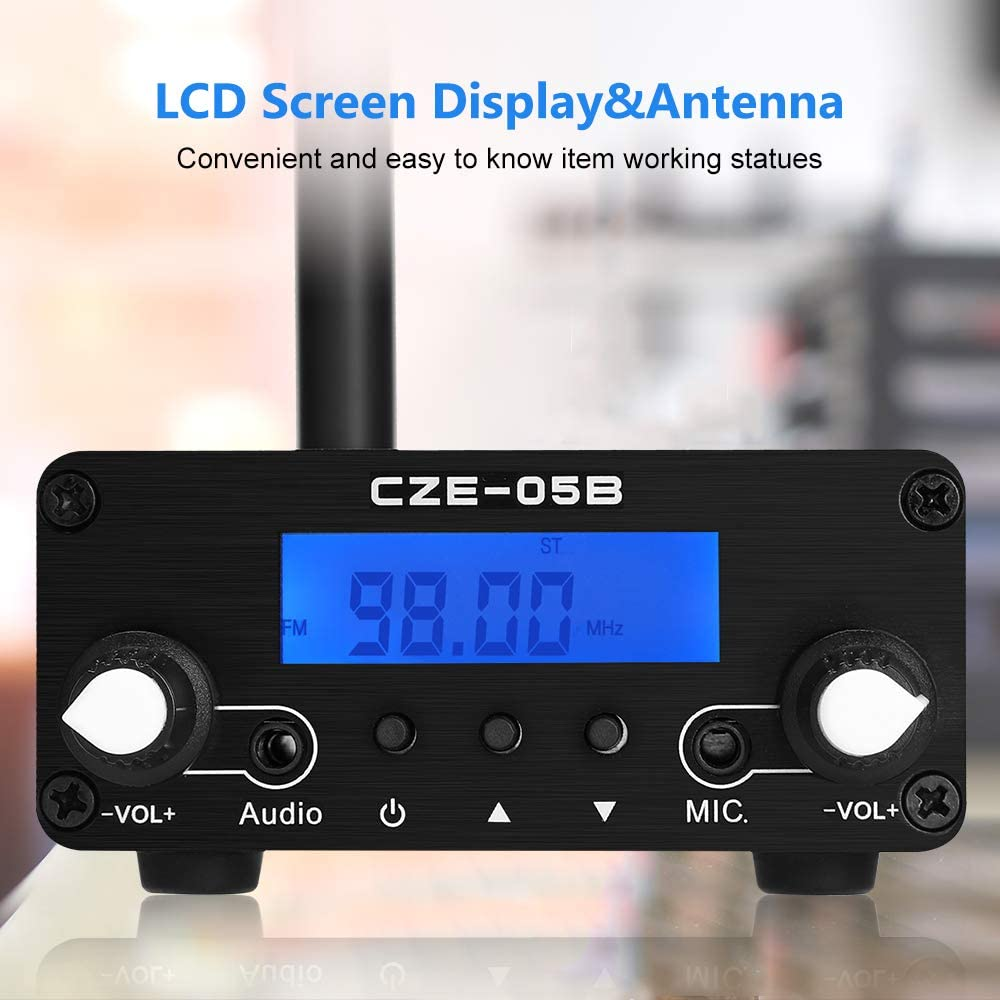 0.5W 76MHz~108MHz LCD Broadcast Transmitter Fm Transmitter for Church Wireless Broadcast Station,Clear Stereo Sound FM Transmitter with Antenna Up 1000Feet Distance FM Transmitter