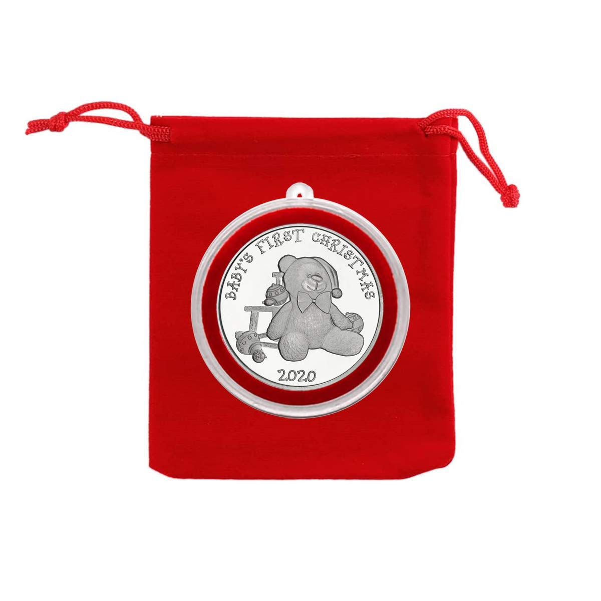 Uncirculated 2020 Babys 1st Christmas Teddy Bear Santa Hat Silver Coin in Ornament Holder and Red Velvet Gift Bag