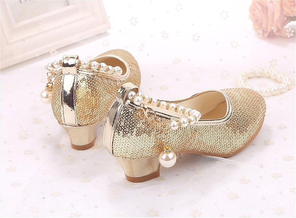 Bon Soir Girls Princess Dress Shoes Sequins Kids Party Low Heels Pumps