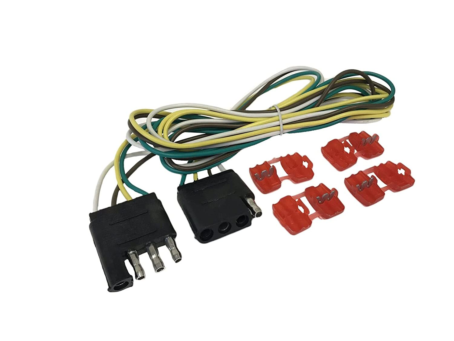 Binoster 4 Way Trailer Wire Extension Wiring Harness Kit Hitch Light Color Truck Awg Coded Wires