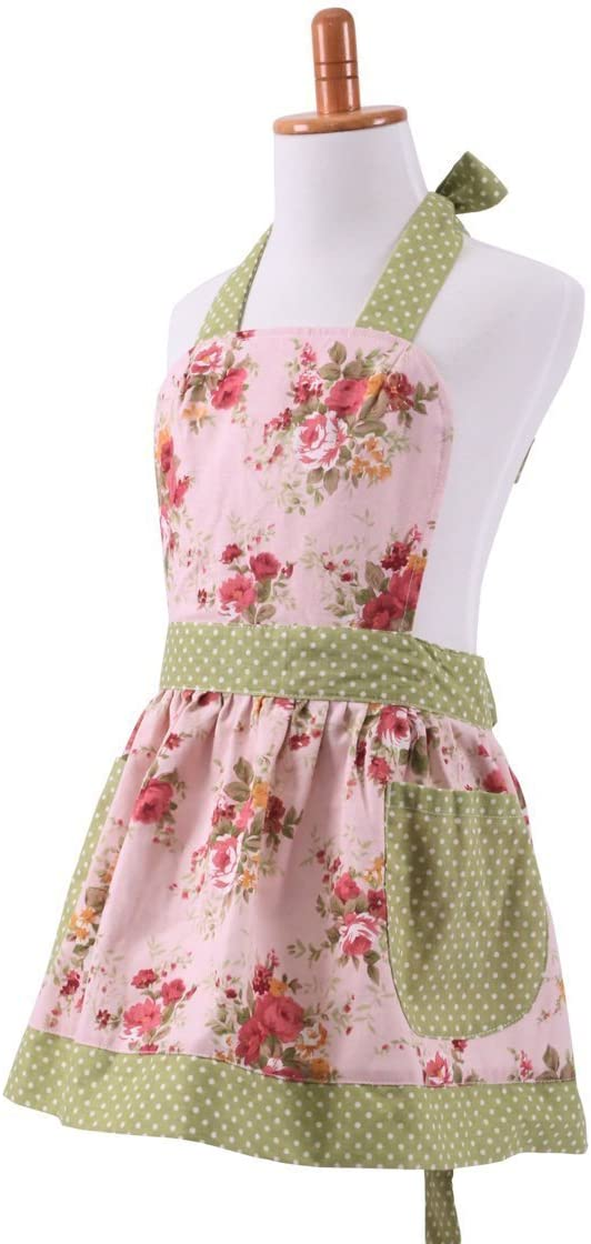FirstKitchen Lovely Classic Style Womens Cooking Apron Cotton Baking Aprons Kitchen Pinafore with Pocket Great Gift For Wife Girls Adult Women
