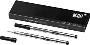 Montblanc Rollerball Refills (M) Mystery Black 105158 – Quick-Drying Pen Refills for Montblanc Rollerball and Fineliner Pens – 2 x Black Pen Cartridges