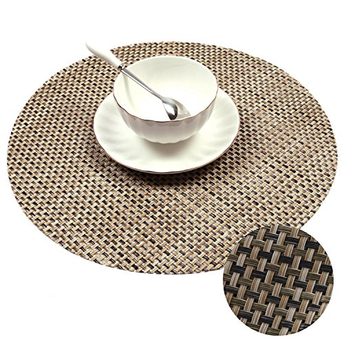 PAUWER 12.6-Inch Round Placemats For Kitchen Table Heat Insulation Woven Vinyl Round Placemats Set of 4, Beige+Green (Round Dining Set For 4)
