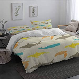 GLDirect Sea Animals Soft Washed Cotton Duvet Cover Set Pattern with Whale Shark and Turtle Aquarium Doodle Style Marine Life Breathable & Cooling Ivory Taupe Peach Full Size