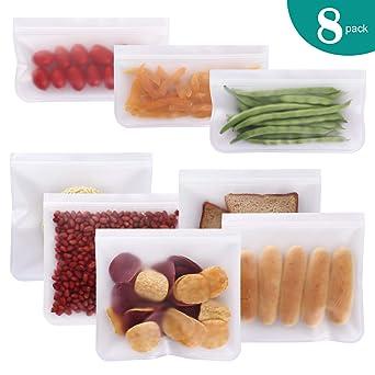 GLOBALGOLDEN 6 de Pack Sac de Conservation Nourriture R/éutilisables Sacs Sandwich r/éutilisables /étanches sans Sac Ziplock sans BPA pour Le Stockage des Aliments