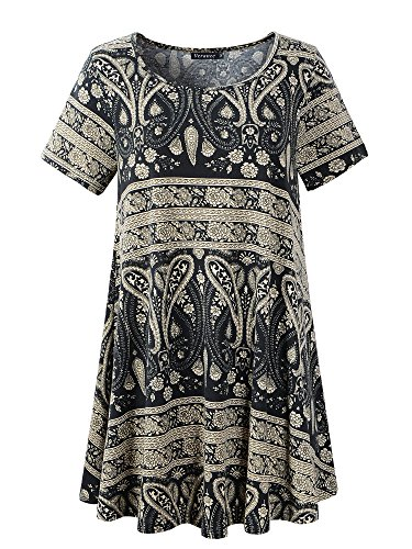 - Veranee Women's Plus Size Swing Tunic Top Short Sleeve Floral Flare T-Shirt (Medium, 56-6)