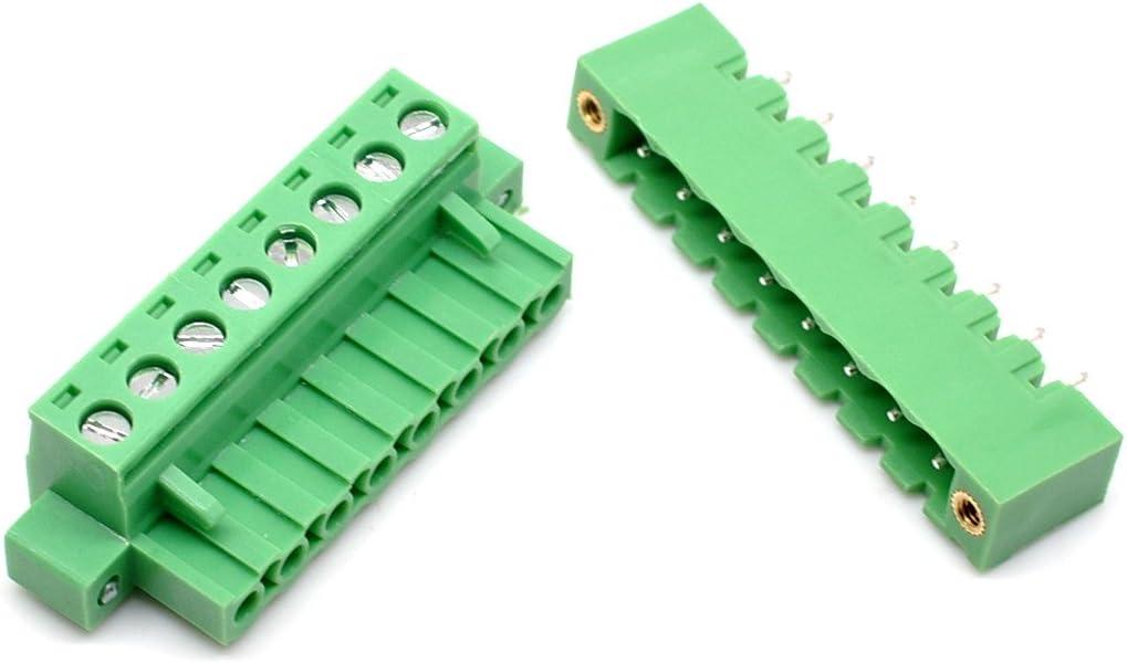 Broches PCB Pluggable borniers Connecteurs Vert 02P x 20Set Willwin pcs 5.08/mm Pas