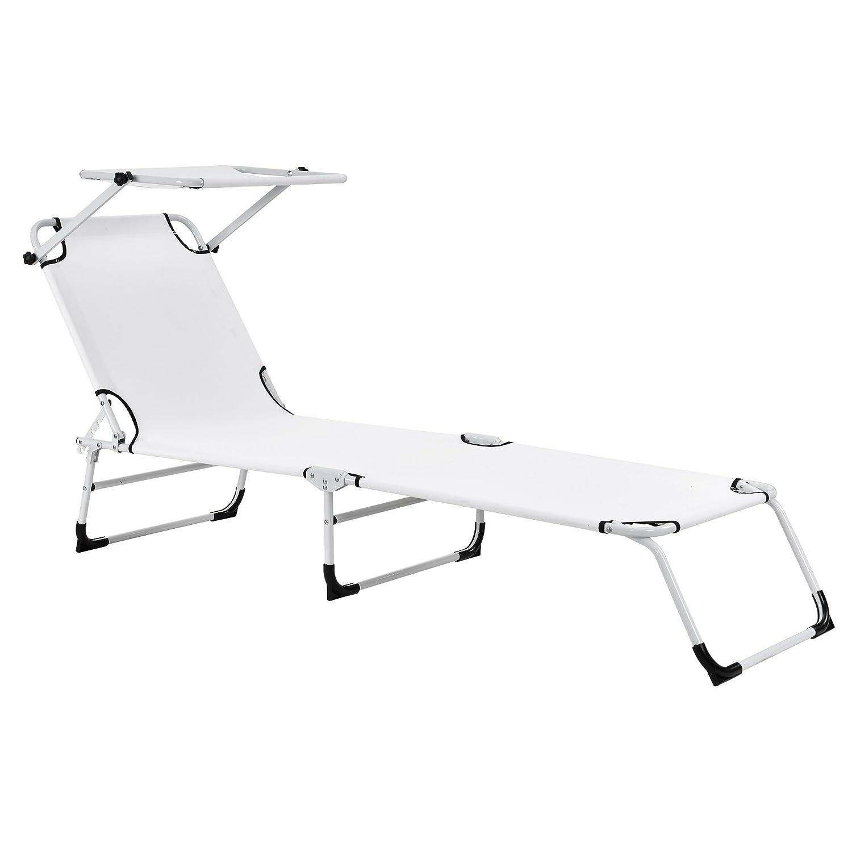 [casa.pro] Bain de soleil pliable 190cm blanc avec toiture aluminium